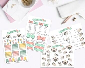 Pug Love Planner Sticker Kit- A5 Sheet, Planner Stickers, Sticker kit, Sticker Pack, Sticker Sheet, Planner