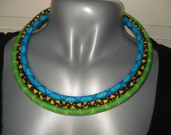 Necklace 3 strands of cotton fabric
