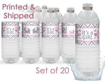 It's a Girl Elephant Pink Little Peanut Baby Shower Favors Water Bottle Labels, Little Peanut Baby Shower Decorations, Pink Gray (Set of 20)