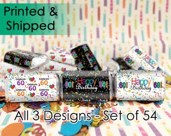 60th Birthday Favors, 60th Party Favors, 60th Bday Party, Happy 60th Bday, 60th Birthday Ideas, Hershey Stickers, Happy 60th Birthday