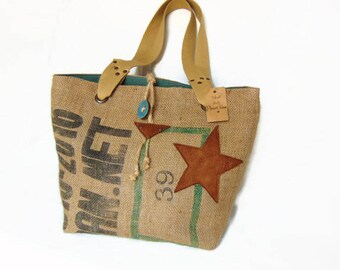 Tote bag in recycled burlap, medium, Brown and green color bag by pleasant Home