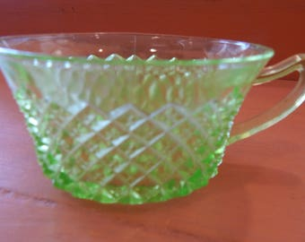 Green Glass Coffee Cup