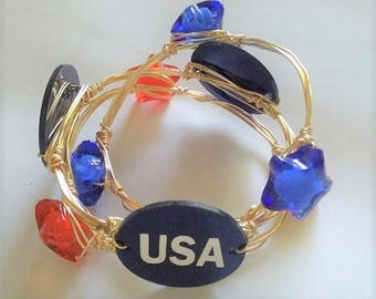 Fourth of July Wire Wrapped Bangle Set, Red White and Blue Bangles