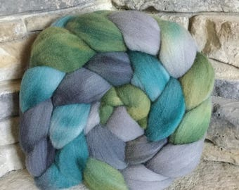 Targhee Combed Top Spinning Fiber -Hand Painted - Feltable - approx. 4 ounces - MORAINE LAKE