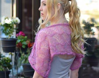 Light plum wool bolero Handmade bridal lace shrug Transparent wedding warm knitted  Poncho  sweater jumper top knitwear