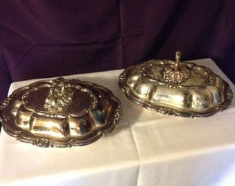Kents Limited ~ Antique Silverplate Lidded Serving Dishes