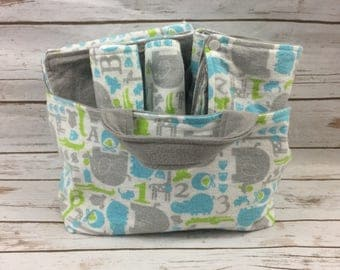 Baby Boy Baby Shower Gift Basket - Zoo Animals Baby Shower Gift - Boy Gifts - Newborn Baby Boy Gift - Travel Changing Pad - Baby Blanket