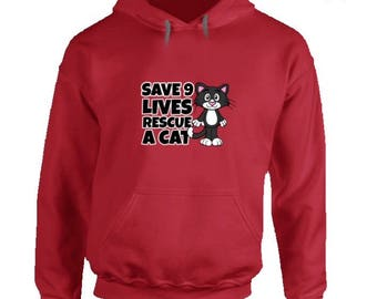 Funny cat hoodie,rescue cat hoodie,cat lover hoodie,cat lover clothes,keep calm and love cats,black cat hoodie,cat lover gifts,Save 9 Lives