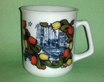 DELFT BLUE Amsterdam Tulips Porcelain Mug ~ Hand Painted in Holland
