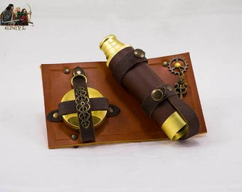 Steampunk belt explorer set with functional spyglass and compass