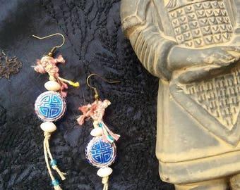 Ethnic earrings blue Asia geisha earrings