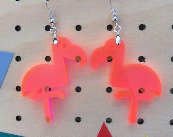 Flamingo dangles - neon pink