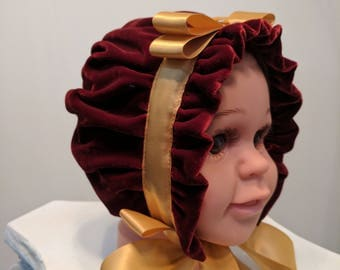 Maroon Velour Sofia Bonnet with Gold Bow Trim, Small