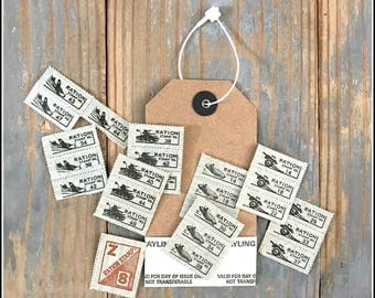 Assorted War Ration Stamps in Pocket Tag - Vintage WWII Stamps