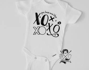 XOXO, Valentine's Day, Valentine's Day bodysuit, matching twins, matching outfits, bodysuit