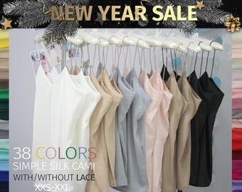 Women's Simple Silk Lace Top, Satin Blouse, Tops Sleeveless Vest Tank Camisole, Silk Tank Top, Wedding Silk Blouse Bridesmaids white Cami