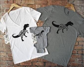 Dinosaur Shirts, Dinosaur Family Shirt Set, Mamasaurus Shirt, Papasaurus Shirt, Babysaurus, Family Shirts, Mama Saurus, Pregnancy Reveal