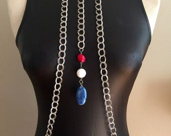Something Red, White and Blue body chains, Silver Plated Chain Neck Body Chain, 4th of July accesories, red white blue jewelry, hot summer