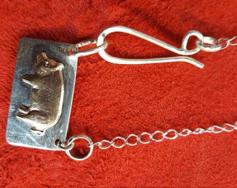 Brass pig on Sterling dog tag necklace