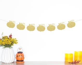 Pumpkin Glitter Banner | Pumpkin Garland | Pumpkin Party | Halloween Banner | Pumpkin Decorations | Little Pumpkin | Thanksgiving Banner