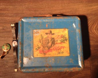 1950's Hopalong Cassidy Watch, Lunchbox, and Pin Collection