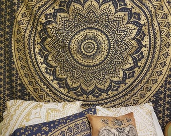 Gold mandala pillocases, mandala tapestry, bohemian decor, wall hanging, boho bedding, wedding gift, gold tapestry, navy tapestry. boho bed