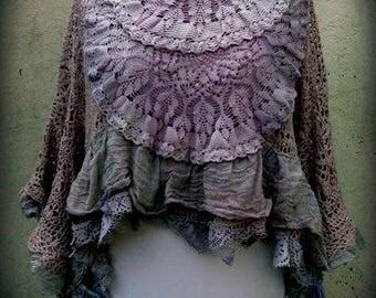 unique 3/4 sleeve salmon/mauve CROCHET TOP vintage textiles upcycled OSFM plus-size
