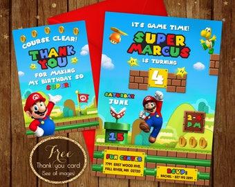 Super Mario Birthday Invitation, Printable Super Mario Invitations, Super Mario Printable Card, Super Mario Birthday Card, Super Mario Party