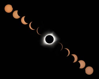 Total Solar Eclipse Pathway Print August 21, 2017, Great American Eclipse, Composite PhotoTaken From Madras, OR, Museum Quality Art Print