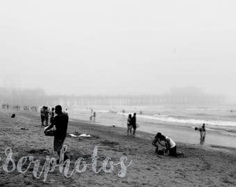 Foggy Santa Monica Beach - Black and White