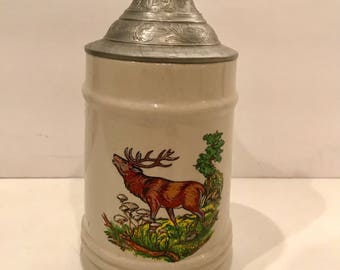 Orca Coatings Vintage  Moose Stein with Pewter Lid at 7 inches