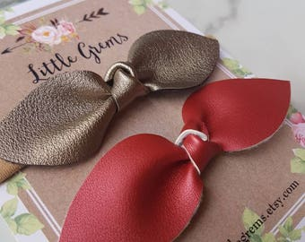 Faux leather Christmas baby headbands: , baby bows, one size fits all headband, baby accessories, toddler accessories, holiday bows