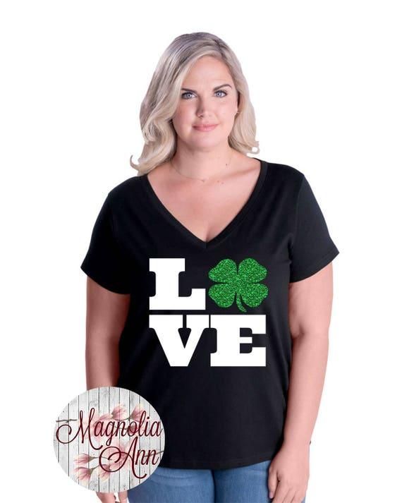 Love Shamrock St Patricks Day Women's Jersey V-Neck T-shirt, Plus Size Clothing, Plus Size St Patricks Day, Womens St. Patricks Day T shirt