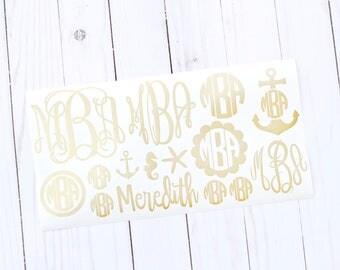 Custom Vinyl Decal, Monogram Decal Sheet, Custom Decal Stickers, Vinyl Monogram, Monogram Sticker Sheet, Vinyl Decal Monogram, Custom Decal