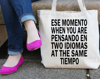 Bilingual Speaker Spanish & English Tote | College/School Tote | Teacher Tote | Shopping Tote | Mail Tote