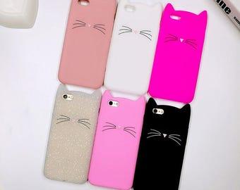 Cute Cat Face Silicone iPhone Case   iPhone 5/5s/SE   iPhone 6/6s   iPhone 6 Plus/6s Plus   iPhone 7   iPhone 7 Plus