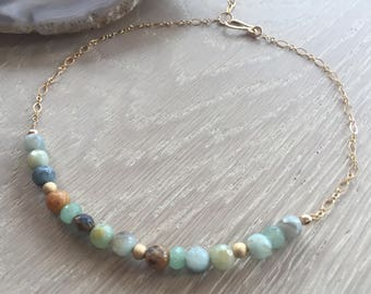 Amazonite Beaded Choker, Gold Filled Chain, Boho Chic, Rustic Elegance, One of a Kind