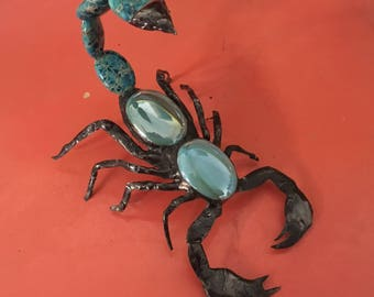 Blue glass and impression jasper scorpion sculpture bug sun catcher .