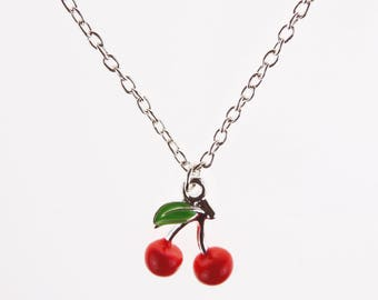 Small Cherry Necklace with Silver Chain - Choose Length - Retro Vintage 1950s Kitsch Fruit Rockabilly Jewellery Carmen Miranda Burlesque