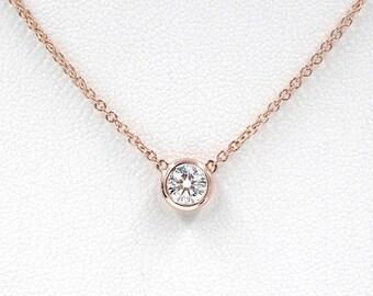 Diamond Solitaire Necklace, Brilliant Cut Bezel Diamond Necklace, Minimalist Necklace, 0.11 Ct. Dainty Diamond Bezel Necklace