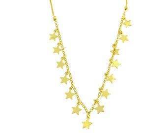 Necklace with 14 stars pendants and side balls in silver 925 sterling hypoallergenic gold plated yellow 40 length adjustable to 45 cm