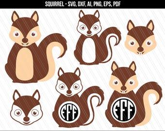 Squirrel svg, Squirrel clipart, Squirrel Monogram svg, Cricut, Animal svg, Nursery svg - Ai, DXF, Svg, Png, Pdf, Eps -Digital Download