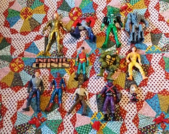 Vintage Action Figure Lot of 13 TMNT Superman Robin Spiderman Indiana Jones Transformers