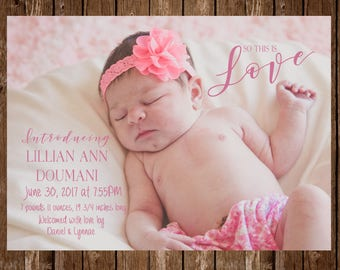 DIGITAL OR PRINTED Calligraphy Baby Announcement Card
