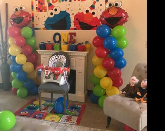 ELMO Birthday Balloons Decorations, Elmo Party Decorations, DIY KIT easy to assemble, Elmo Balloon Column, Sesame Street Balloon Decor