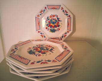 Set of Six Vintage English Octagonal Tea Plates - marked 'Johnson Bros, Made in England, Ironstone'