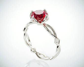 SALE Christmas in July! 14K White Gold Natural Ruby Engagement Ring  | 14k white gold Natural Ruby and Diamonds engagement ring