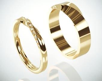 14k Gold Mubius Rings Set Ladies ring set with Diamonds | His and Hers Diamonds Mobius Ring | 14k Gold Mobius Wedding Ring set with Diamonds
