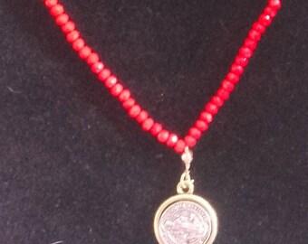 Orange necklace with semi precious gemstone bead color