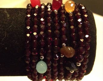 Semi precious Burgundy with drops of color pearl bracelet